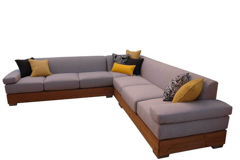 Sectional With Wood Base