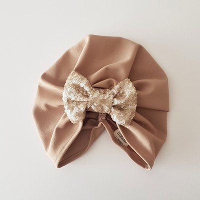 Barbett Cortrelli Sequin Bow Turban in Gold