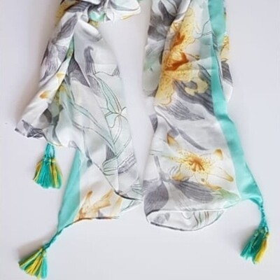 Lily Print Scarf in Turq