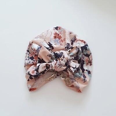 Barbett Cortrelli Knotted Bow Turban in Peach Floral