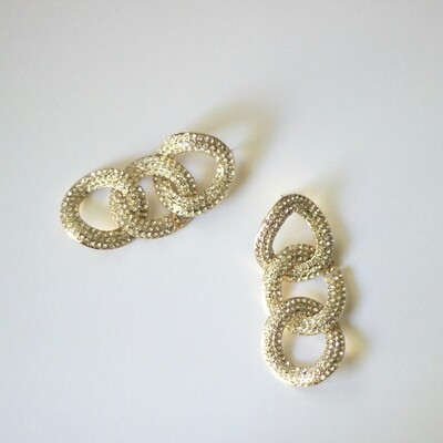 Rhinestone Link Earring in Gold