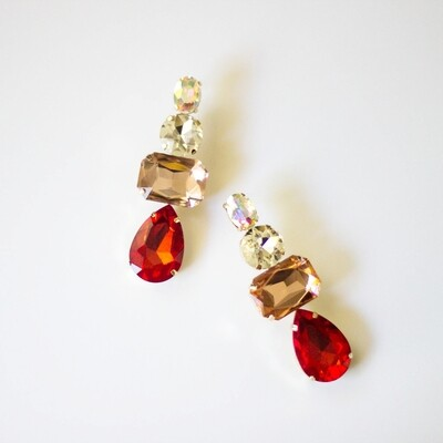 Rhinestone Statement Earring in Red