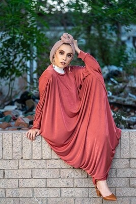 Pleated Shoulder Kaftan in Guava