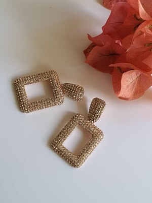 Geometric Rhinestone Earring in Gold