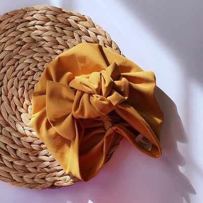 Barbett Cortrelli Knotted Bow Turban in Curry