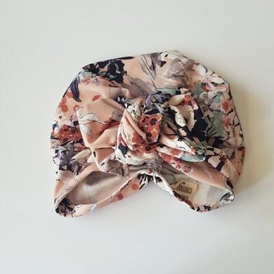Barbett Cortrelli Dahlia Turban in Peach Florals