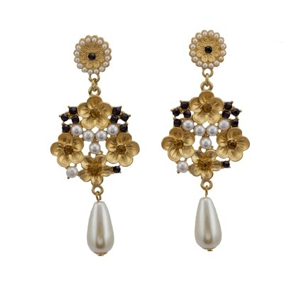 Floral Pearl Chandelier Earring