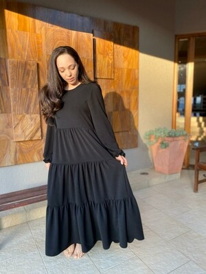 Long Sleeve Tiered Dress in Black