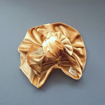 Barbett Cortrelli Velvet Knotted Bow Turban in Honey