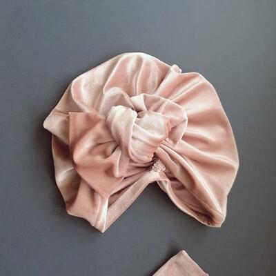 Barbett Cortrelli Velvet Knotted Bow Turban in Misty Rose