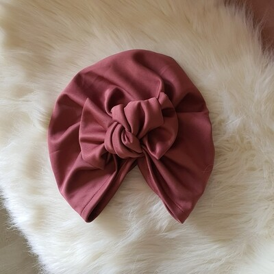 Barbett Cortrelli Knotted Bow Turban in Berry Nice