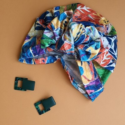 Velvet Knotted Bow Turban in Bright Tropics