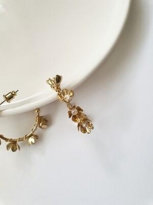 Delicate  Gold Floral Hoop