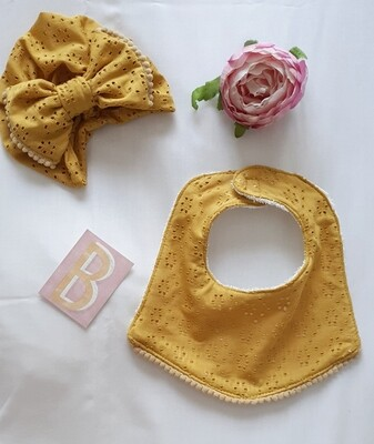 Turban & Bib Set in Mustard Anglaise