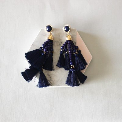 Navy Multi Tassel Earring
