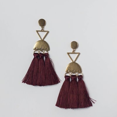 Inca Tassle Earring in Oxblood