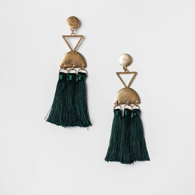 Inca Tassle Earring in Forest