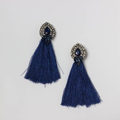 Tassle Rhinestone Earring in Sapphire