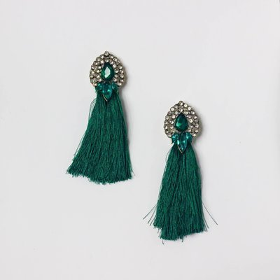 Tassle Rhinestone Earring in Emerald