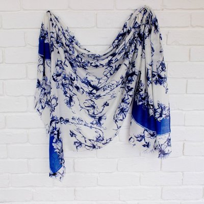 Floral Scarf in Royal Blue