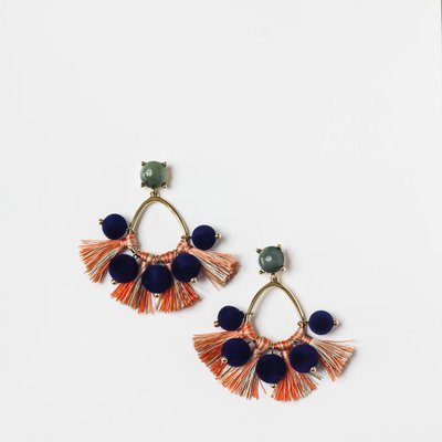 Navy Pom Pom Earring