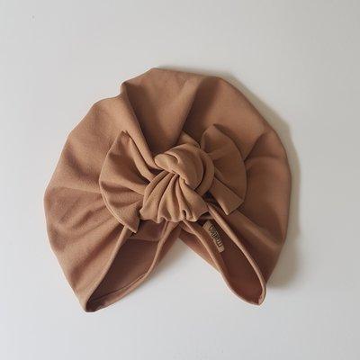 Barbett Cortrelli Knotted Bow Turban in Light Tan