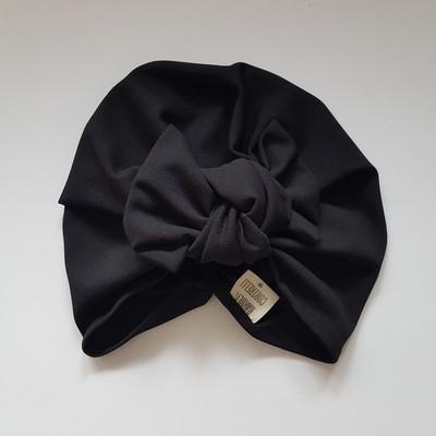 Barbett Cortrelli Knotted Bow Turban in Ebony