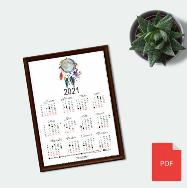 Drukājams Mēness fāžu kalendārs 2021