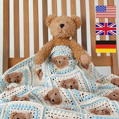 CROCHET PATTERN: Vintage Teddy Bear Baby Blanket