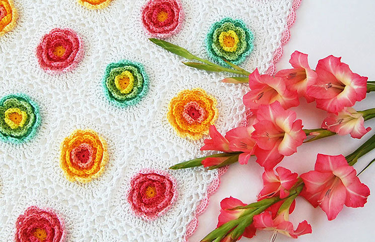CROCHET PATTERN: Blooming Baby Blanket