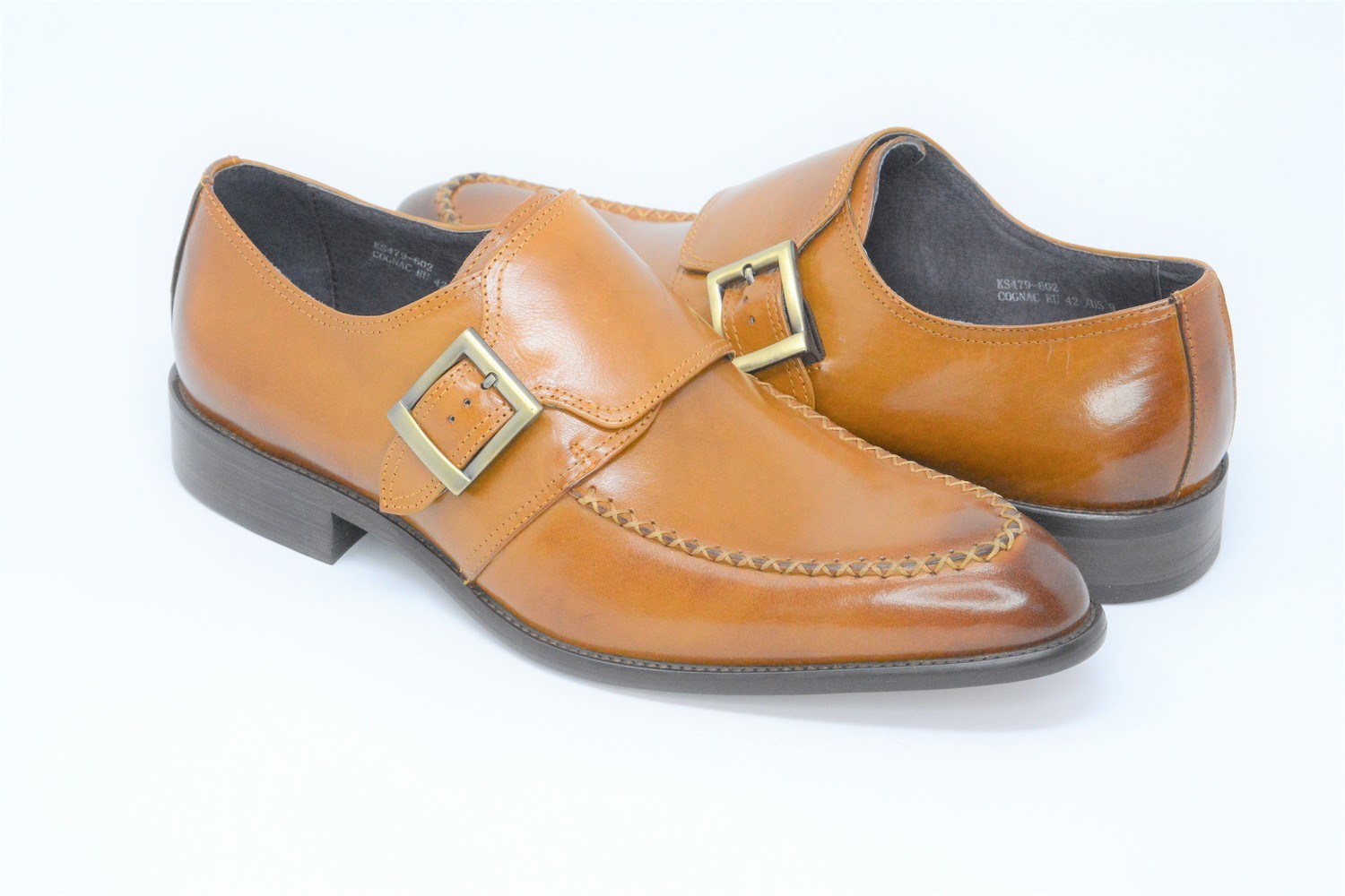 Shoes - Square Monk Cognac Slip On