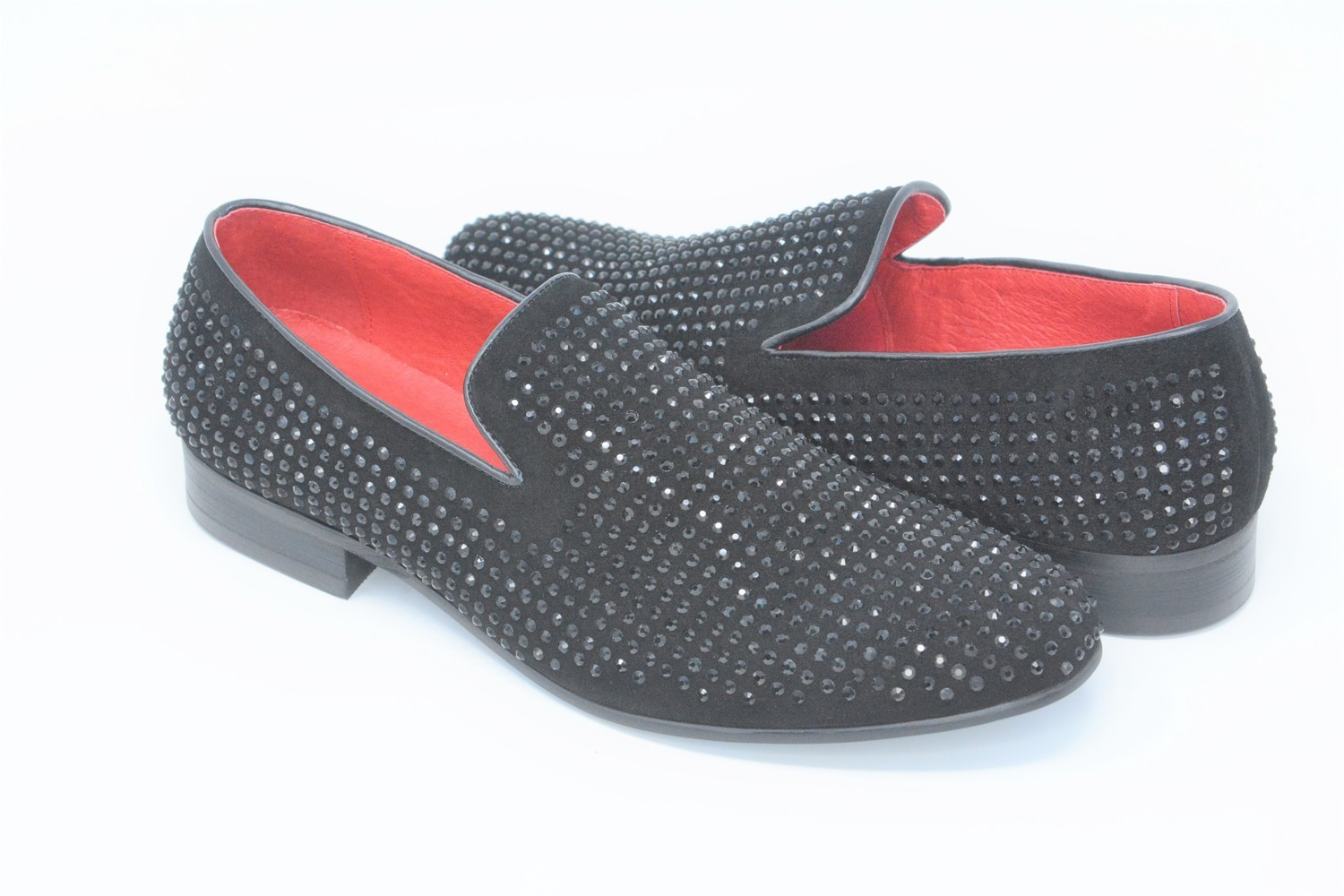 Shoes - Suede Studded Black Loafer