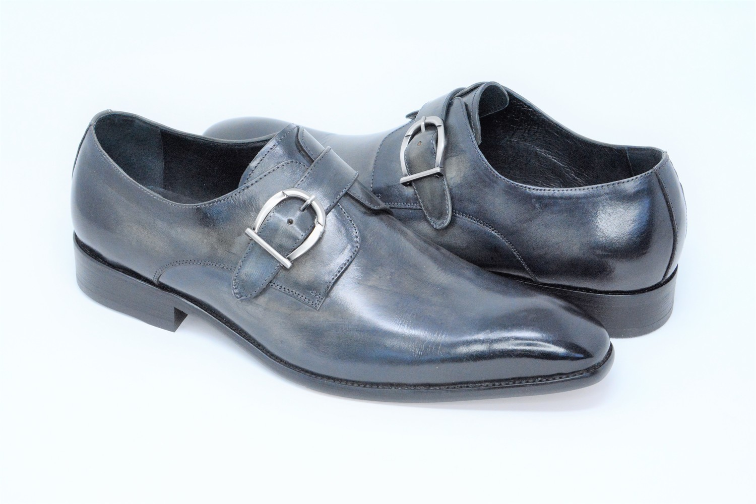 Shoes - Monk Strap Blue Grey Slip On