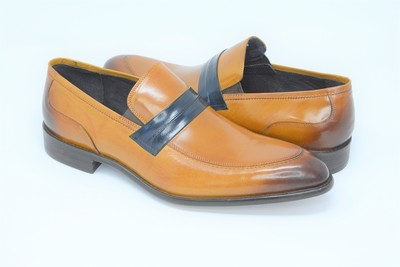 Shoes - Cognac Blue Band Leather Slip On