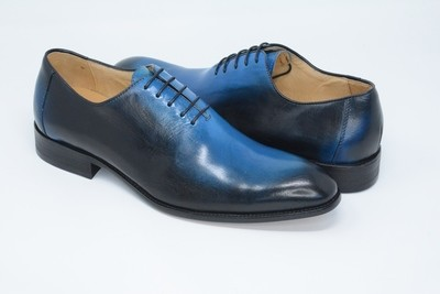 Shoes - Round Toe Blue Burnished Lace Up