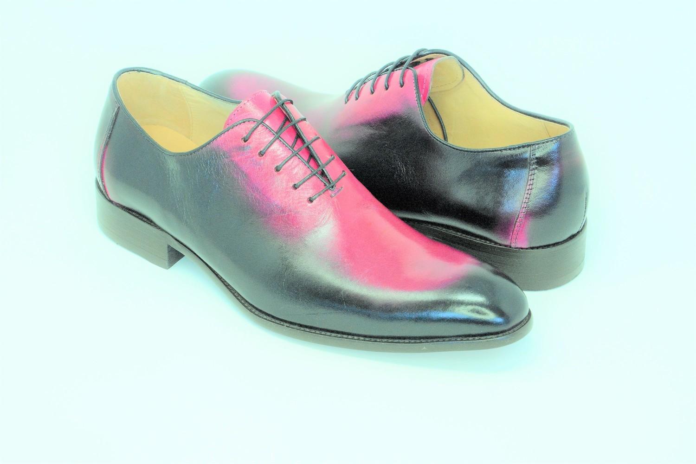 Shoes - Round Toe Fuchsia Burnished Lace Up