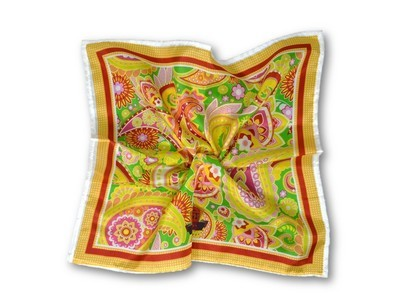 Premium Pocket Square - Bold Paisley Canary