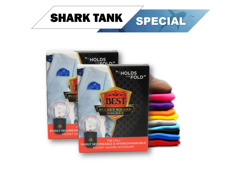 Shark Tank Special (2) Pocket Square Holders  + (2) Free Pocket Squares + Free Shipping