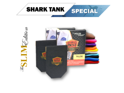 Shark Tank - SLIM (2) Slim Pocket Square Holders  + (2) Free Pocket Squares ​+ Free Shipping