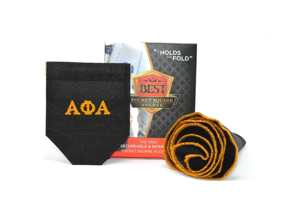 GREEK Alpha - Best Pocket Square Holder Package (1) Custom BPSH (1) Custom Black Pocket Round + FREE Shipping