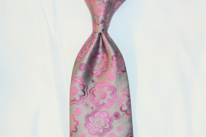 Necktie Set - Gray Fuchsia Flower