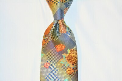 Necktie Set - Blue Orange Hound Flower Abstract