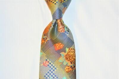 Necktie Set - Blue Orange Hound Flower Abstract