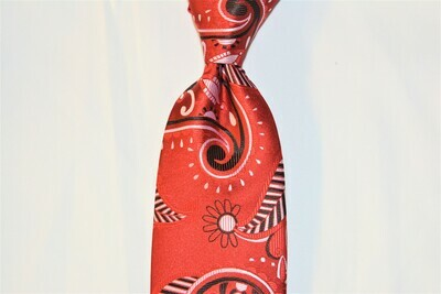 Necktie Set - Red White Black Paisley Africa