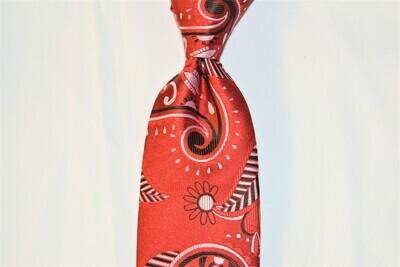 Necktie Set - Red White Black Paisley Africa
