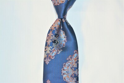 Necktie Set - Navy Orange Medallion