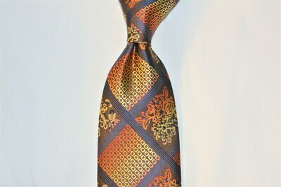 Necktie Set - Copper Tan Oriental Squares