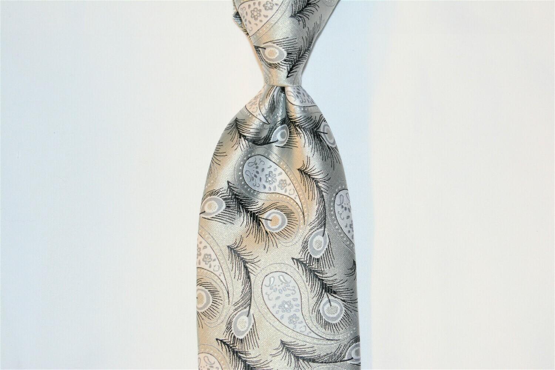 Necktie Set - Black Gray Silver Feather
