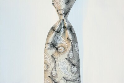 Necktie Set - Black Gray Silver Feather