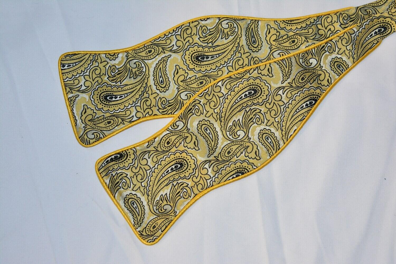 Bow Tie Set - Yellow Black Paisley